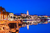 Split Harbour with Cathedral of Saint Domnius at dusk, Split, Dalmatian Coast, Croatia, Europe