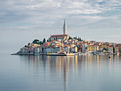 Early morning, Old Town reflections, Rovinj, Istria, Croatia, Europe