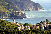 Corniglia and Manarola, Cinque Terre, east coast of Liguria, Italy