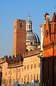 View to the basilica from Piazza Sordello, Mantua; Lombardy, Italy