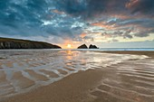 Beach patterns at Holywell Bay on the North coast of Cornwall, captured shortly before sunset in late February.