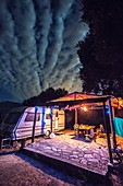 Glowing Campsite Among the Night Sky, Tarifa, Cádiz, Andalusia, Spain