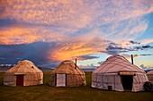 Kyrgyzstan, Naryn province, Song Kol lake, Kirghiz nomad's yurt camp