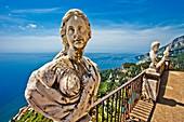 The belvedere, the so-called Terrazzo dell'lnfinito, Villa Cimbrone, Ravello, Amalfi coast, Campania, Italy, Europe.