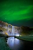Seljalandsfoss Waterfall and Aurora Borealis, Iceland