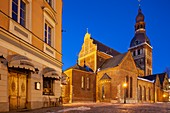 Winter dawn at Riga Cathedral in Latvia.