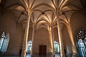 Interior building Sa Llotja, gothic architecture in Palma de Mallorca,Balearic Islands.