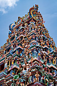 The highly decorative Gopuram (entrance tower) to Sri Srinivasa Perumal Hindu Temple in Little India, Singapore, Southeast Asia, Asia