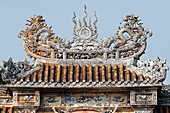 Roof detail with dragon, The Imperial City, UNESCO World Heritage Site, Hue, Vietnam, Indochina, Southeast Asia, Asia