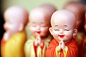 Buddhist monk figurines, Ho Chi Minh City, Vietnam, Indochina, Southeast Asia, Asia
