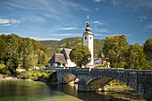 San Giovanni Church, Lake Bohinj, Triglav National Park, Upper Carniola, Slovenia, Europe