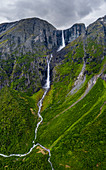 Aerial view of Mardalsfossen waterfall dividing in Mardola river branches, Eikesdalen, Nesset, More og Romsdal county, Norway, Scandinavia, Europe