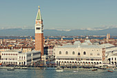 The Doge's Palace, Campanile, Bridge of Sighs and a flooded St. Mark's Square with gondolas lining the shore and Alps beyond, Venice, UNESCO World Heritage Site, Veneto, Italy, Europe