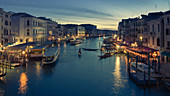 Looking along the Grand Canal from the Rialto Bridge at dusk, Venice, UNESCO World Heritage Site, Veneto, Italy, Europe