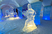 Sorrisniva Igloo Hotel, snow or ice hotel, striking sculpture in lobby, Alta, Winter, Finnmark, Arctic Circle, North Norway, Scandinavia, Europe