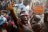 Voodoo funeral anniversary in a village near Kara, Togo, West Africa, Africa