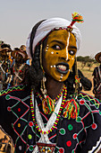 Wodaabe-Bororo man with face painted at the annual Gerewol festival, courtship ritual competition among the Wodaabe Fula people, Niger, West Africa, Africa