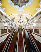 Interior of Komsomoloskaya Metro Station, Moscow, Moscow Oblast, Russia, Europe