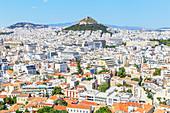 High angle view of Athens city centre, Athens, Greece, Europe