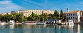 View of Pula Marina and Roman Arena (Amphitheatre), Pula, Istria County, Croatia, Adriatic, Europe