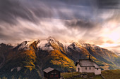 Fairy tale landscape during the autumn sunset over Bettmeralp, canton of Valais, Swiss Alps, Switzerland, Europe