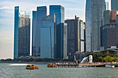 Tourist boats with the Merlion statue and Marina Bay skyline, Singapore, Southeast Asia, Asia