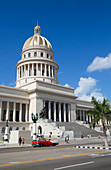 Capitol Building with Classic Old Car, Old Town, UNESCO World Heritage Site, Havana, Cuba, West Indies, Caribbean, Central America
