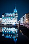 Au Pont Rouge Department Store at night, St. Petersburg, Leningrad Oblast, Russia, Europe