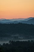 USA, Georgia, Blue Ridge Mountains and forest covered with fog at sunrise