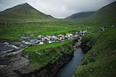 Denmark, Faroe Islands, Gjgv, Village on coast