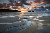 The beach at Holywell Bay on the North Coast of Cornwall, captured shortly before sunset in late February.