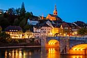 Evening on river Rhine in Laufenburg, Germany.