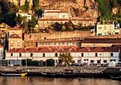 View over Douro River towards Calem Winery, Vila Nova de Gaia, Porto, Portugal