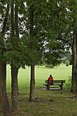 Parkbank im Southpark, Oxford, Oxfordshire, England