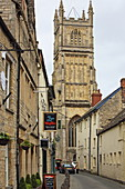 Black Jack Street and Cathedral Tower, Cirencester, Cotswolds