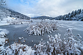 View over the frozen Geroldsee to snow-covered landscape, Krün, Bavaria, Germany.