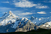 View of Schreckhorn and Finsteraarhorn, from First, Grindelwald, Bernese Oberland, UNESCO World Natural Heritage Swiss Alps Jungfrau-Aletsch, Bernese Alps, Bern, Switzerland