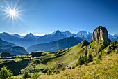 View of Gumihorn with Eiger, Mönch and Jungfrau in the background, from Schynigen Platte, Grindelwald, Bernese Oberland, UNESCO World Natural Heritage Swiss Alps Jungfrau-Aletsch, Bernese Alps, Bern, Switzerland