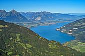 Lake Thun, from Schynigen Platte, Grindelwald, Bernese Oberland, UNESCO World Natural Heritage Swiss Alps Jungfrau-Aletsch, Bernese Alps, Bern, Switzerland