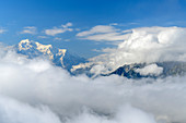 Summit of Mont Blanc protrudes from clouds, from Dent de Morcles, Bernese Alps, Vaud, Vaud, Switzerland