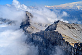 Cloudy atmosphere at the rocky eruptions of the Grande Dent de Morcles, Grande Dent de Morcles, Bernese Alps, Vaud, Vaud, Switzerland