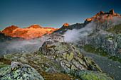 Albert Heim Hut with Galenstock and Gletschhorn in the alpenglow, Albert Heim Hut, Urner Alps, Uri, Switzerland