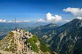 Several people stand at the summit of Rubihorn, Rubihorn, Allgäu Alps, Allgäu, Swabia, Bavaria, Germany