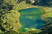 Deep view of Unteren Gaisalpsee, from Rubihorn, Allgäu Alps, Allgäu, Swabia, Bavaria, Germany