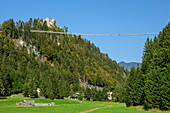 Highline 179 rope bridge with Ehrenberg castle ruins, Reutte, Tyrol, Austria
