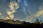 Milky Way over Latemar Group, Rosengarten, Dolomites, UNESCO World Natural Heritage Dolomites, South Tyrol, Italy