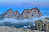 Grohmannspitze, Fünffingerspitze and Langkofel at the blue hour, from the Sella Group, Sella Group, Dolomites, UNESCO World Natural Heritage Dolomites, Veneto, Veneto, Italy