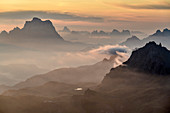 Morning mood over Pelmo and Bosconero Group, from the Sella Group, Sella Group, Dolomites, UNESCO World Natural Heritage Dolomites, Veneto, Veneto, Italy