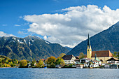 Tegernsee with Rottach-Egern, Bodenschneid in the background, Tegernsee, Upper Bavaria, Bavaria, Germany