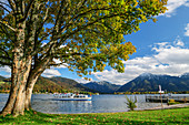 Ship of the Tegernseeschifffahrt with Bodenschneid and Wallberg in the background, Bad Wiessee, Tegernsee, Upper Bavaria, Bavaria, Germany